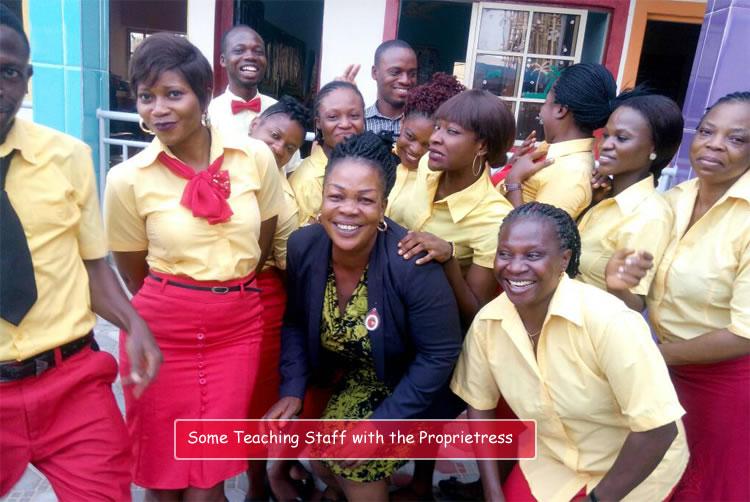 Teachers with the proprietress