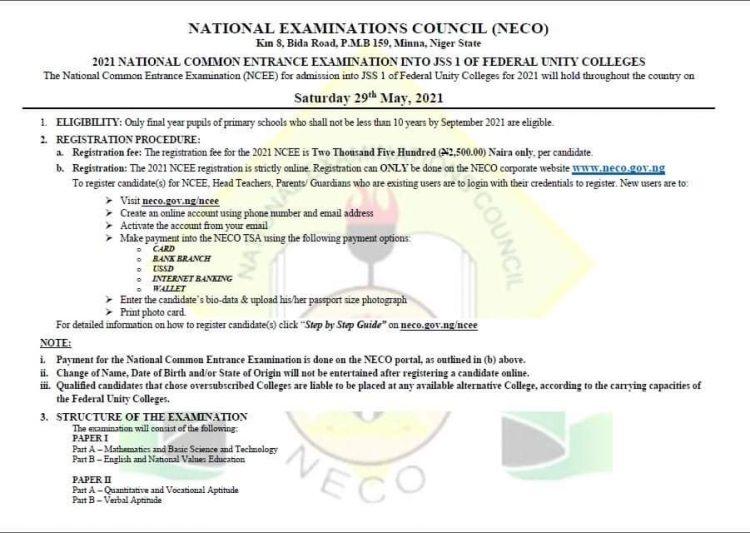 NECO 2021 Common Entrance Information